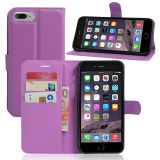 Buy Pu Leather Case Flip Stand Cover For Apple Iphone 7 Plus Purple Online