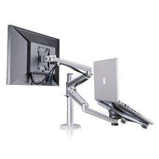 RANWD fashion,high-quality,Adjustable Aluminium Universal Laptop Notebook & Computer Monitor Stand Desk Mount Bracket clamp Tilt Swivel Dual Arm Support Holder (Laptop & Monitor) - intl
