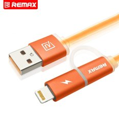 New Remax Aurora Dual Heads Ios Micro Usb Mobile Phone Data Fast Charge Cable With Light Indicator 100Cm Intl
