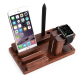 Rosewood Charging Station Bamboo Stand Desk Holder Desk Stand Charger Station For Iwatch Intl On China