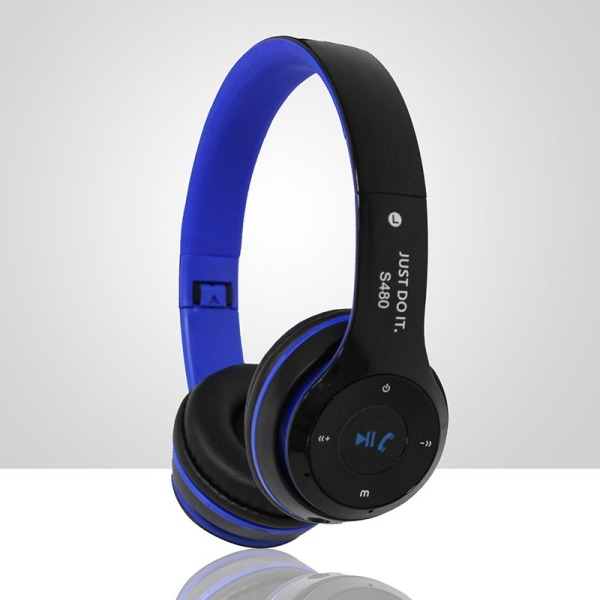 S480 Wireless Bluetooth Headphone Foldable 3D Surround (Blue) Singapore