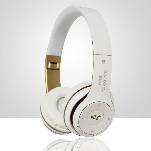 S480 Wireless Bluetooth Headphone Foldable 3D Surround (White) Singapore