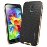 Brand New S5 With Brand Logo Dual Layer Neo Armor Case For Samsung Galaxy S5 I9600 Cool Hybrid Slim Back Cover Phone Bags For Samsung S5 Gold