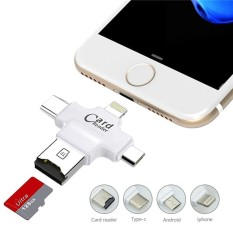 SD Card Reader 4 in 1 Multifunction USB Micro SD &TF Card Reader Adapter Flash Drive with Type C USB Lightning Connector OTG HUB Adapter, TF Flash Memory Card Readers For iPhone, iPad, Mac, PC, Android Phones-White - intl