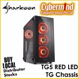 Sale Sharkoon Tg5 Red Led Tempered Glass Atx Chassis Computer Desktop Case With 4X Led Fans Pre Installed Sharkoon Cheap