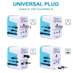 Sinoday 4 Usb Port All In One Universal International Plug Adapter With Bag World Travel Ac Power Charger Adaptor With Au Us Uk Eu Plug Color Random Intl Coupon