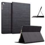 Compare Price Slim Wood Grain Case Pu Leather Cover For Apple Ipad Air 1 Ipad Air 2 Black On China