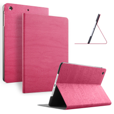 Slim Wood Grain Case Pu Leather Cover For Apple Ipad Mini 3 2 1 Rose Red On China