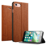 Retail Price Slim Wood Grain Case Pu Leather Cover Stand For Apple Iphone 7 4 7 Brown