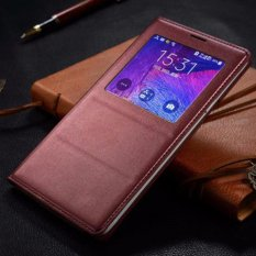 Smart Sleep Wake Window View Leather Flip Cover Case Coque For Samsung Galaxy Note 4 N9100 With Chip Burgundy Intl On Line