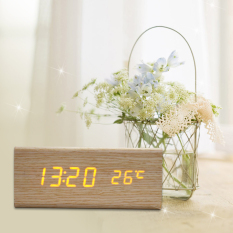 Sale Sound Control Solid Wooden Desk Bedside Digital Alarm Clock Orange Light Online Hong Kong Sar China