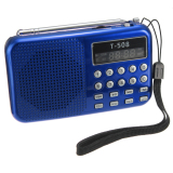 Great Deal T508 Mini Portable Led Stereo Fm Radio Speaker Usb Tf Card Mp3 Music Player 2 Piece Set Blue Red Intl