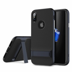Price Comparison For Top Brand Ultra Thin Hybrid Tpu Pc Back Cover Back Cover Luxury Air Armor Shell Phone Case With Built In Stand Support For Apple Iphone X Black Red Gold Grey Blue Intl