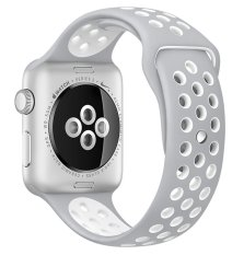 Review Top4Cus Original 1 1 Series 2 Silicone Band For Apple Nike Iwatch Replacement Soft Sport Band For Apple Watch Iwatch Flat Silver White Small Medium 42Mm Top4Cus On China