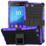 Price Compare Tpu Pc Armor Hybrid Case Cover For Sony Xperia M5 Purple