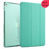 Top Rated Transparent Back Ultra Slim Light Weight Auto Wake Up Sleep Smart Cover Tri Fold Protective Pu Leather Case For Ipad 5 Ipad Air Mint Green