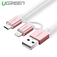 Deals For Ugreen 5M Apple Mfi Certified 2 In 1 Dual Connector Lightning To Micro Usb Sync And Charge Cable Rose Gold