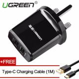 Discount Ugreen 5V3 4A Dual Usb Wall Charger With Free 1M Type C Charging Cable Black Uk Plug Intl Ugreen China