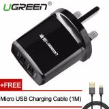 Buying Ugreen 5V3 4A Universal Usb Wired Wall Charger With Free 1M Micro Usb Charging Cable Black Uk Plug Intl