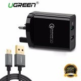 Sale Ugreen Quick Charger 3 Usb Wall Charger 30W Dual Usb Ports Fast Charging Uk Plug Black With 1Meter Micro Usb Cable Intl Online China