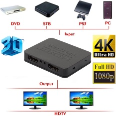Best Offer Ultra Hd 4K Hdmi Splitter 1X2 2 Port Repeater Amplifier Hub 3D 1080P 1 In 2 Out Intl