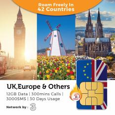 Uk & Europe Three Travel Prepaid Sim Card (30 Days 12gb) By Hello1010.sg.