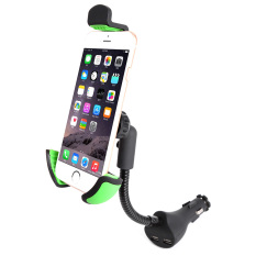 Universal On Board Smart Phone Support Stand Clip Adapter 360°Rotation Automatic Locked Car Phone Holder Bracket Windshield Mount With Dual Usb Ports Charger For Gps Mobile Cell Phone Intl Promo Code
