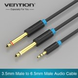 Brand New Vention Bacbj 5M 3 5Mm Jack Plug To Double 6 5Mm Dual Adapter Jack Audio Cable For Mixer Amplifier Male To Male Aux Cabo Black Intl