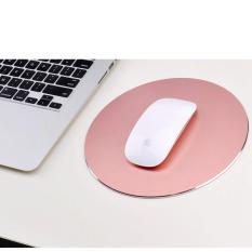 Waterproof 220x220mm Mouse Pad Mat Office Gaming Aluminium Metal Mousepad Non Slip Rubber Base (Rose gold) - intl