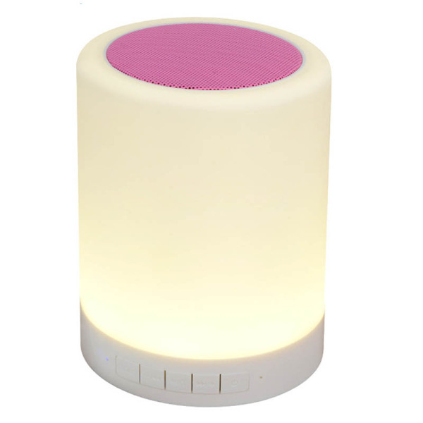 Wireless Bluetooth Speaker Touch Induction Regulator Night Light Lamp (Pink) (Export) Singapore