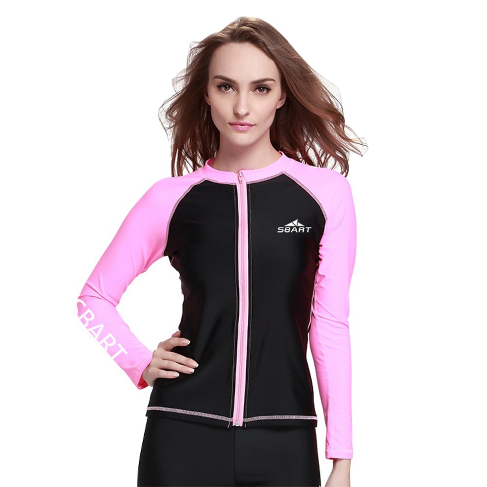 Price Comparisons Women Diving Snorkeling Wetsuit Swim Shirts Tops Long Sleeve Rash Guard Surf Shirt Swimwear Pink