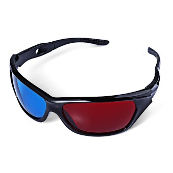 Wonderful Sunglasses-Shaped Red Blue Lens Anaglyph Circularly 3 Dimensional 3D Glasses for 3D Games 3D DVD Movies Blue