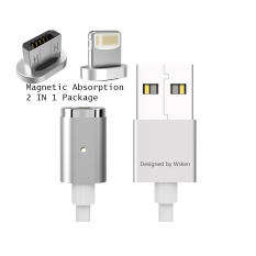 Wsken X Cable 2 In 1 Lightning And Micro Usb 2 4A Magnetic Mini 2 Cable Suitable For Ios And Android Devices Silver Lower Price