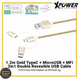 Price Xpower 3In1 Typec Micro Usb Mfi Double Reversible Usb Cable Xpower Singapore