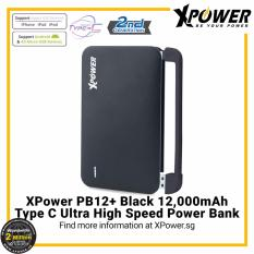 Xpower Pb12 12000Mah Powerbank With 3 Removable Cable Mfi Lightning Cable Micro Usb Cable And Usb Type C Cable Black Black 10001 15000Mah Promo Code