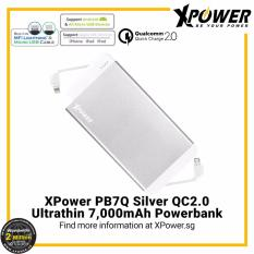 Sale Xpower Pb7Q Qualcomm Quick Charge 2 Powerbank 7000Mah With Dual Built In Mfi Lightning Cable And Micro Usb Cable Silver Online Singapore