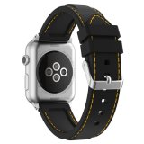 Sale Xumu Apple Watch Series 1 Series 2 38Mm Soft Silicone Line Stitching Sport Band For Nike Apple Watch Series 1 Series 2 Iwatch Sport Edition Replacement Strap Wristband Black Yellow Intl China