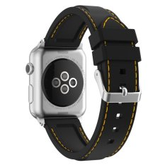 Brand New Xumu Apple Watch Series 1 Series 2 38Mm Soft Silicone Line Stitching Sport Band For Nike Apple Watch Series 1 Series 2 Iwatch Sport Edition Replacement Strap Wristband Black Yellow Intl