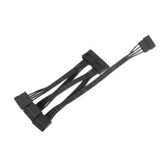 YYSL 4Pin IDE 5 Port 15Pin SATA Power Cable Cord 18AWG For Hard Drive PC Black