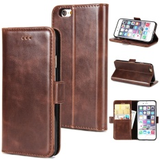 Retail Price Zhiyue Filp Crazy Horse Pattern Double Fold Flip Leather Case For Apple Iphone 5 5S Intl