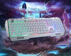 ZongHAX K3 USB Wired Optical Gaming Keyboard And Mouse Set, LED Illuminated Programmable Gaming Keyboard With Water-Resistant Design-Silver + White - intl