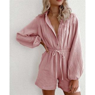 Summer Casual Cotton Linen Jumpsuit Outwear Women s Lace-up Romper Short Overalls Long Sleeve Pockets Lapel Loose Playsuits thumbnail