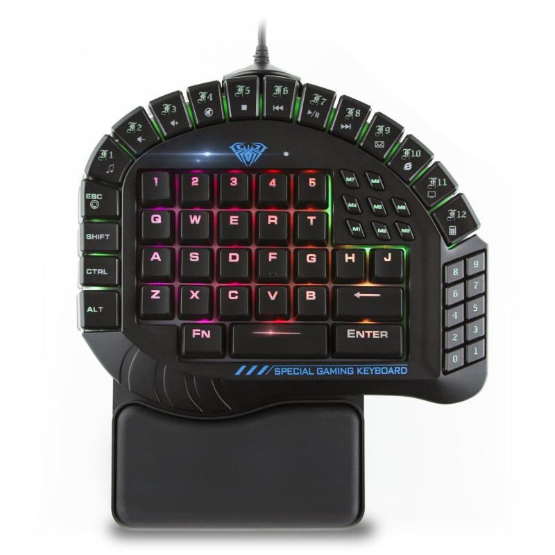 AULA 30 Progammable Keys One Handed Merchanical Gaming Keyboard - RGB Backlit Gaming Keypad, Green Switches One-Hand Keyboard with Detachable Wrist Rest Singapore