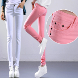2016 Cotton Women Stretch Pencil Pants Casual Slim Fit Jean Ladies Trousers Lower Price