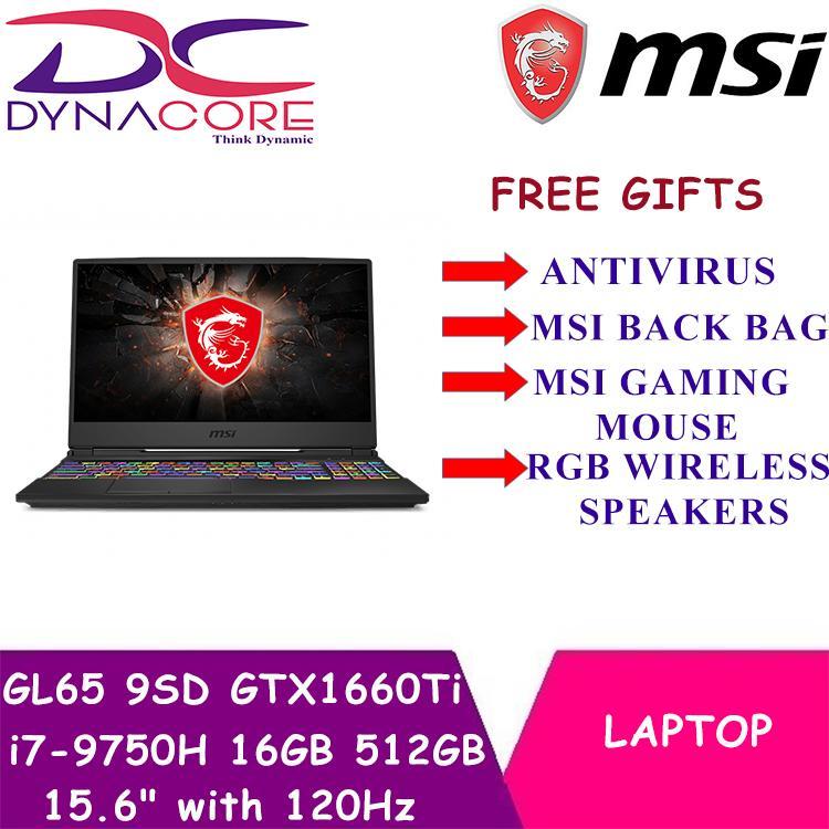 MSI GL65 9SD GTX1660Ti (i7-9750H / 16GB / 512GB SSD) 15.6  with 120Hz Gaming Laptop