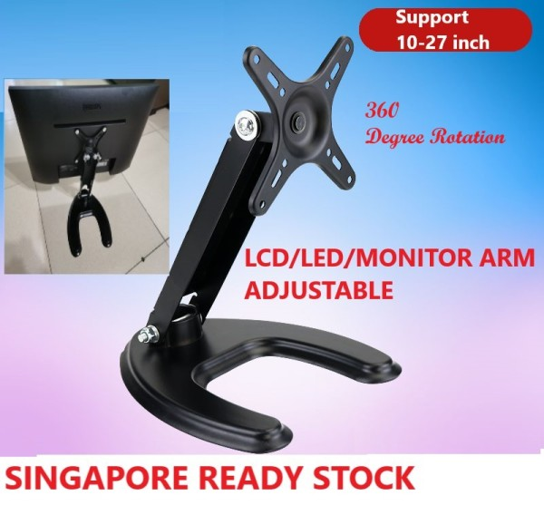 Vesa Monitor Mount Arm LCD LED SCREEN Mounting Adjustable Rotation for 12 to 27 inch up to 10kg