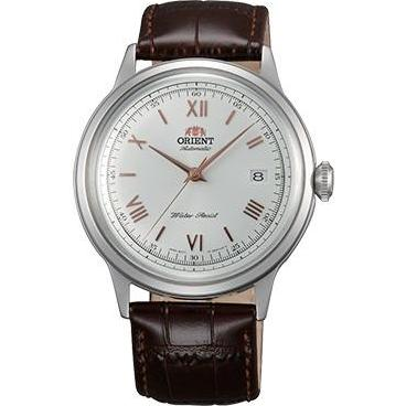 BNIB ORIENT BAMBINO 2ND-GEN AUTOMATIC DRESS WATCH WITH WHITE DIAL, ROSE GOLDTONE HANDS AC00008W