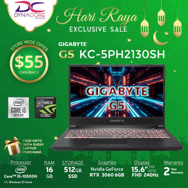 【Ready-stock】【DYNACORE】GIGABYTE G5 KC-5PH2130SH - i5-10500H/ RTX 3060 GDDR6 6GB/ 16GB DDR4 (8GBx2)/ 512GB M.2 PCIe/ Win 10 Home/ FHD 240Hz/ BAG