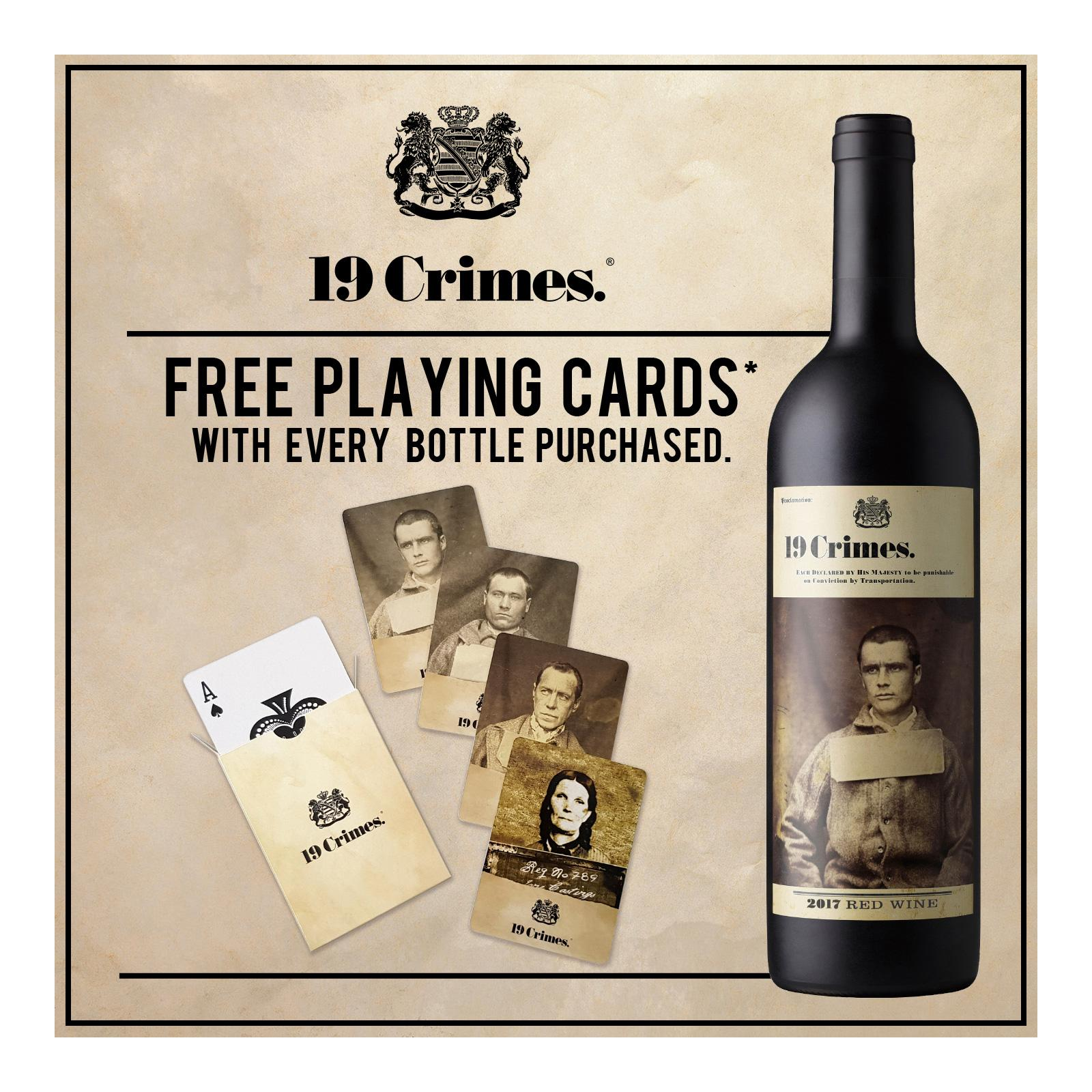 19 Crimes Red Blend Bold Red Wine with Free Playing Cards*