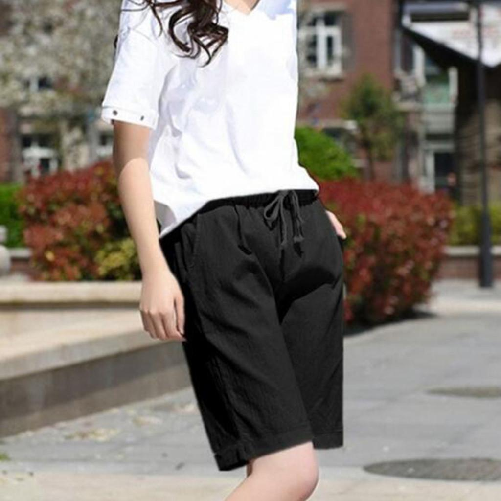Women Summer Plus Size Casual Loose Pure Color Bandage Fifyh Short Pants